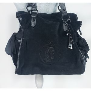 RARE Juicy Couture Solid Black Velour Bow Bag